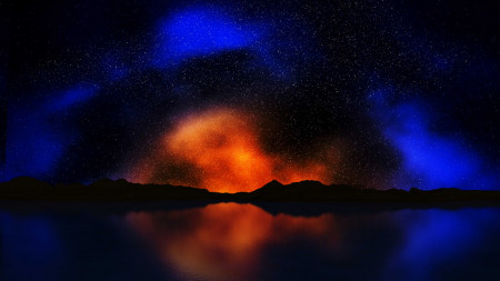 Tablou peisaj universul in oglinda lacului