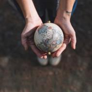 Tablouri harti globul pe palme