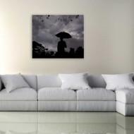 Tablou alb-negru omul cu umbrela