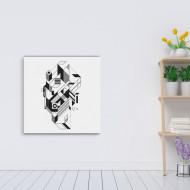 Figuri geometrice asamblate in tablou abstract