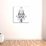 Tablou abstract cap de lup indian
