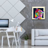 Tablou abstract pisica colorata