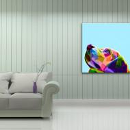 Tablou abstract cap de caine colorat