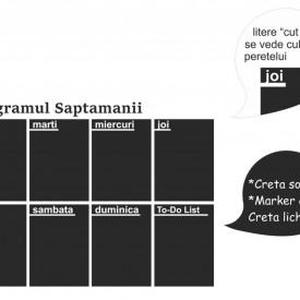 Autocolant Tabla de Scris cu Creta - Planner Saptamanal