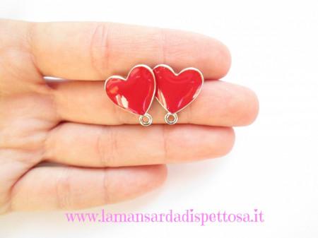 1 coppia di basi per orecchini a perno cuore rosso immagini