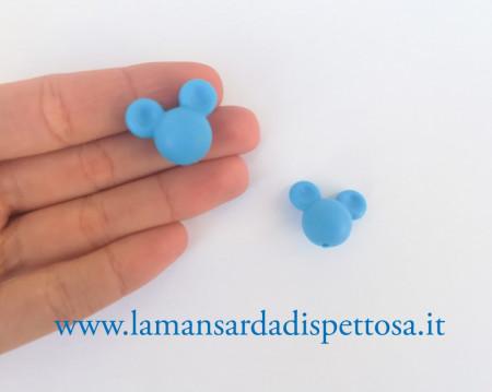 1 perla Topolino in silicone azzurra immagini