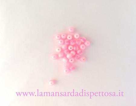 10 perle rigate rosa 6mm. immagini