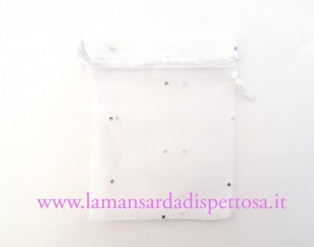 Bustina in organza bianca con strass 9x12cm. immagini