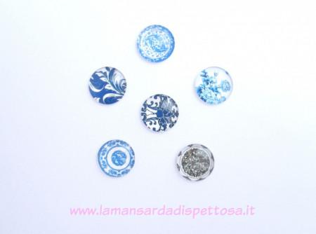 Cupola per cammeo decori blu 18mm. immagini