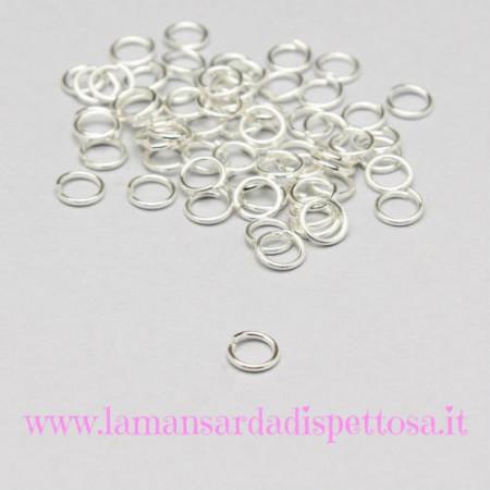 100 anellini silver 4mm. immagini