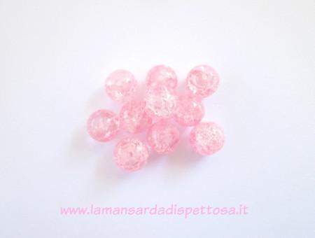 9 perle in vetro cracklé rosa 12mm. immagini