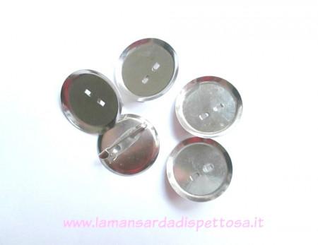 Base per spilla tonda tono argento 23mm. immagini