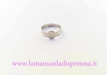 Base per anello argento con piastra immagini