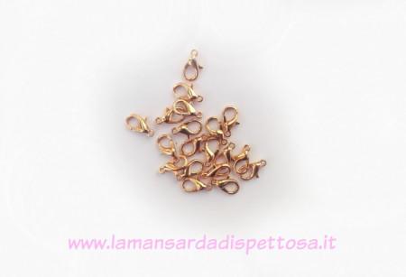 1moschettone oro rosa 12x6mm. immagini