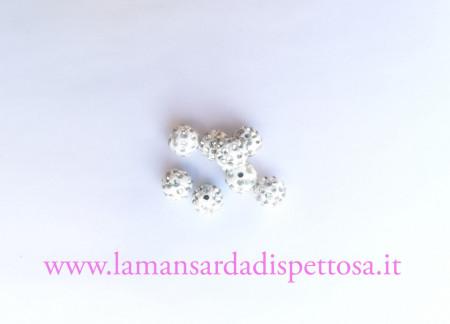 5 perle in acrilico strass 10mm. immagini