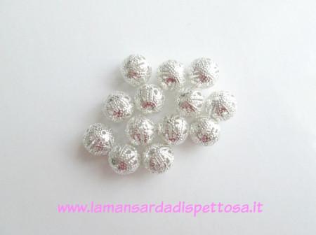 Perla metallica filigrana 12mm. immagini