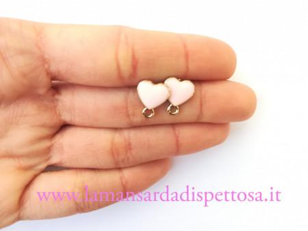 1 coppia di basi per orecchini cuore rosa 12x10mm. immagini