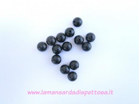 10 perle in acrilico nero 12mm. immagini