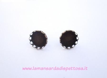 2 basi per orecchini a perno merlettate per cammeo da 12mm. immagini