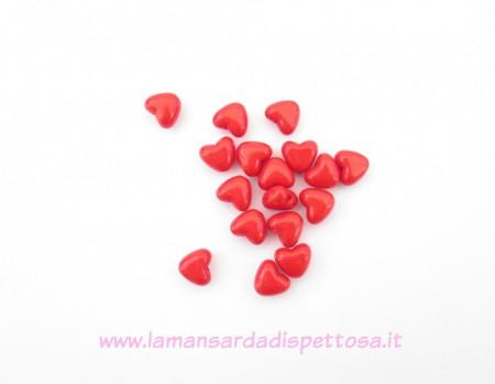5 perle cuore rosso 11mm. immagini