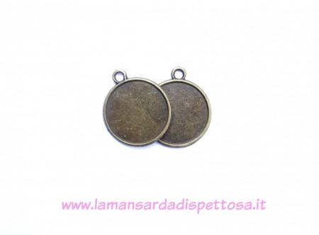 Base per cammeo double-face bronzo 22mm. immagini