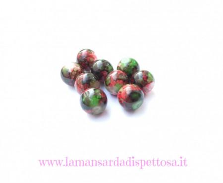 Perla in vetro verde rossa 10mm. immagini
