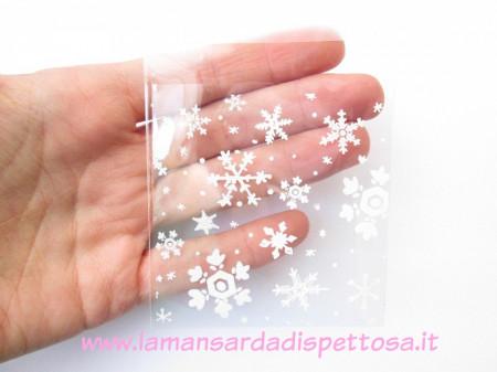 10 bustine con fiocchi di neve 10x7cm. immagini