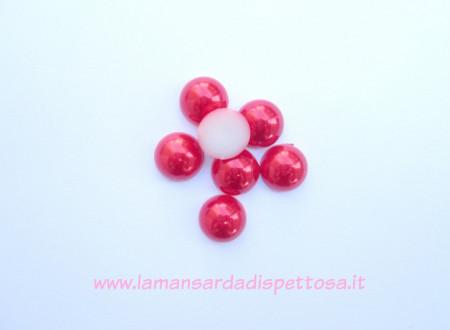 2 cabochon mezzeperle rosso 14mm. immagini