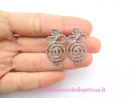 1 coppia di basi per orecchini a perno spirale immagini