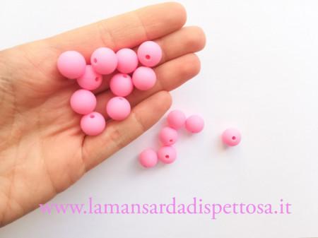 1 perla in silicone rosa 12mm. immagini