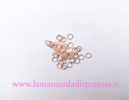 50 anellini color oro rosa 6mm. immagini