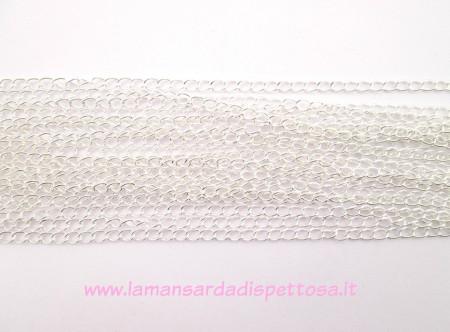 1mt. catena a maglia ritorta color silver 5,5x3,5mm. immagini