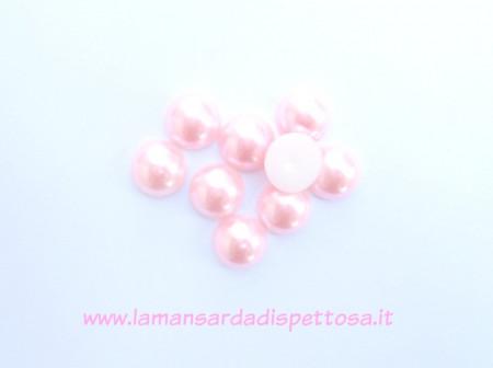 2 mezzeperle cabochon rosa 14mm. immagini