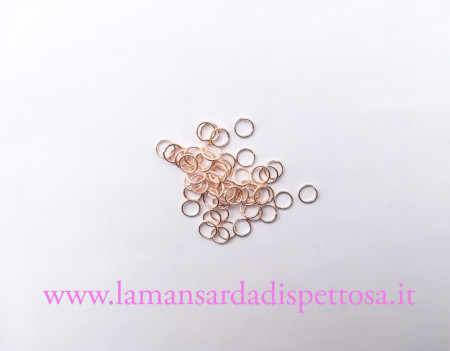 50 anellini color oro rosa 8mm. immagini