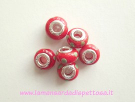 Pandora lampwork rossa a pois verdi immagini