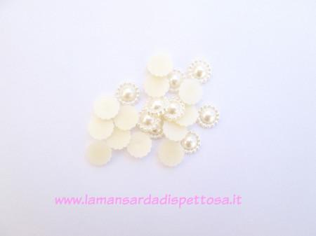 1 coppia cabochon perla champagne 10mm. immagini