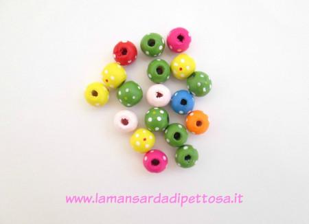10 perle in legno a pois 13mm. immagini