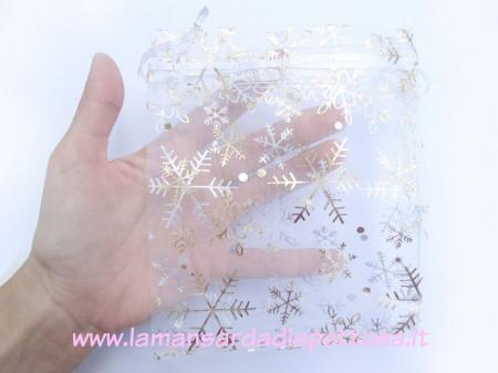 Bustina in organza con fiocchi di neve 12x16mm. immagini