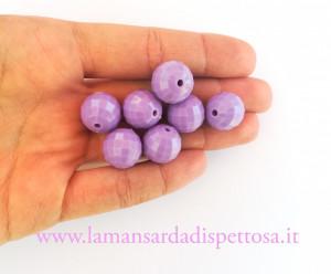 1 perla sfaccettata glicine 14mm.