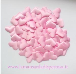 10 cuori in stoffa rosa