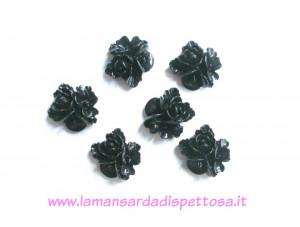 1 coppia cabochon fiori neri