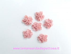 1 coppia cabochon fiori rosa