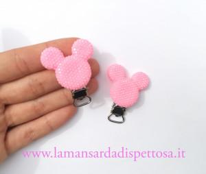 1 clip Minnie strass rosa