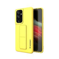 Husa Samsung Galaxy S21 Ultra 5G- Wozinsky Kickstand Case Silicone -Galbena