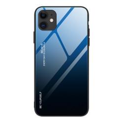 Husa Iphone 12 -Gradient Glass Durable Cover din sticla securizata 9H -Albastru/Negru