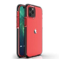 Husa Iphone 12 PRO / Iphone 12 -Spring Case- TPU transparent cu margini negre