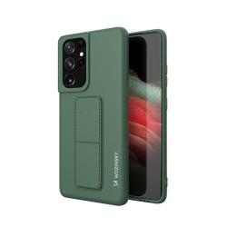 Husa Samsung Galaxy S21 Ultra 5G- Wozinsky Kickstand Case Silicone -Dark Green