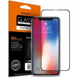 Sticla securizata Iphone X/XS -Spigen Glass FC-margine neagra