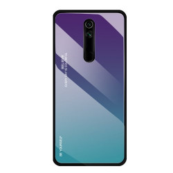Husa Huawei Mate 20 Lite-Gradient Glass Durable Cover din sticla securizata 9H-green-purple