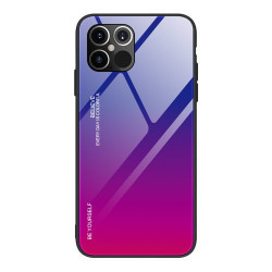 Husa Iphone 12 PRO MAX-Gradient Glass Durable Cover din sticla securizata 9H -Pink Blue